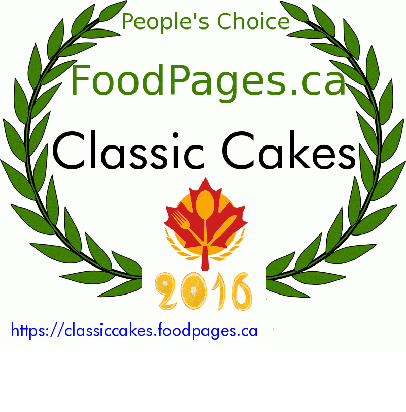 Classic Cakes FoodPages.ca 2016 Award Winner